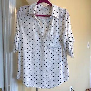 Adorable white and black polkadotted blouse